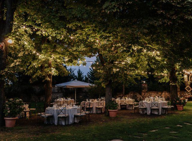 Montaje de cena boda en Cándido, Segovia